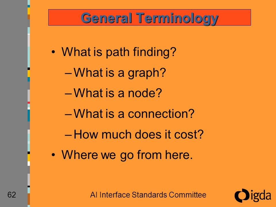 62AI Interface Standards Committee General Terminology What is path finding? –What is a graph? –What is a node? –What is a connection? –How much does
