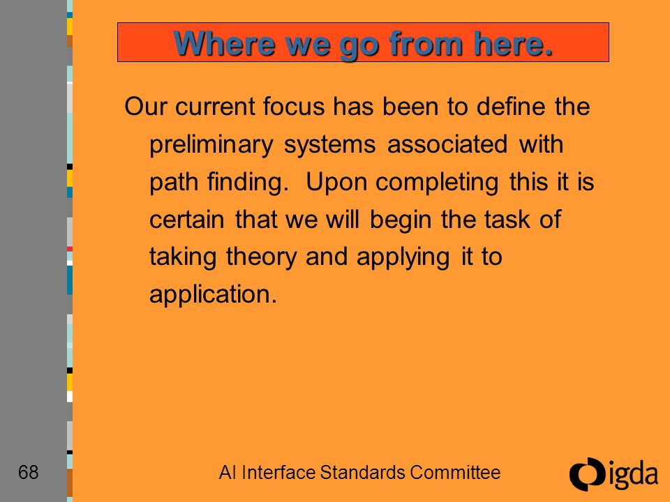 68AI Interface Standards Committee Our current focus has been to define the preliminary systems associated with path finding. Upon completing this it