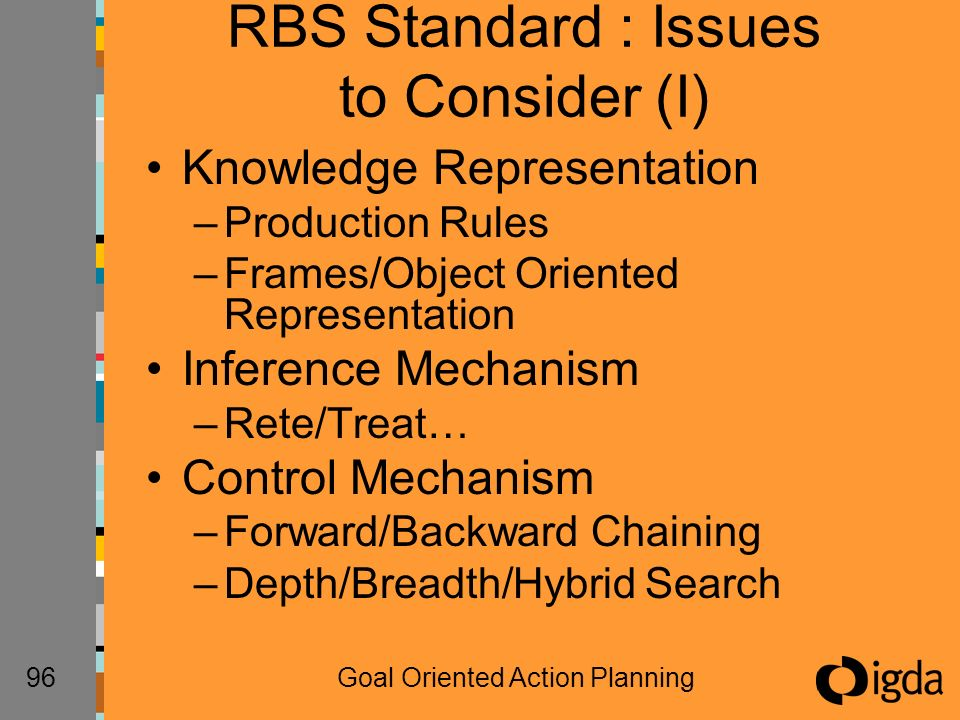 96Goal Oriented Action Planning RBS Standard : Issues to Consider (I) Knowledge Representation –Production Rules –Frames/Object Oriented Representation Inference Mechanism –Rete/Treat… Control Mechanism –Forward/Backward Chaining –Depth/Breadth/Hybrid Search