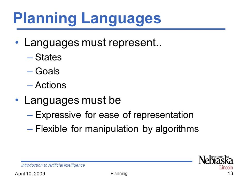 Introduction to Artificial Intelligence April 10, 2009 Planning Planning Languages Languages must represent.. –States –Goals –Actions Languages must b