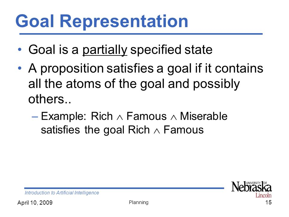 Introduction to Artificial Intelligence April 10, 2009 Planning Goal Representation Goal is a partially specified state A proposition satisfies a goal