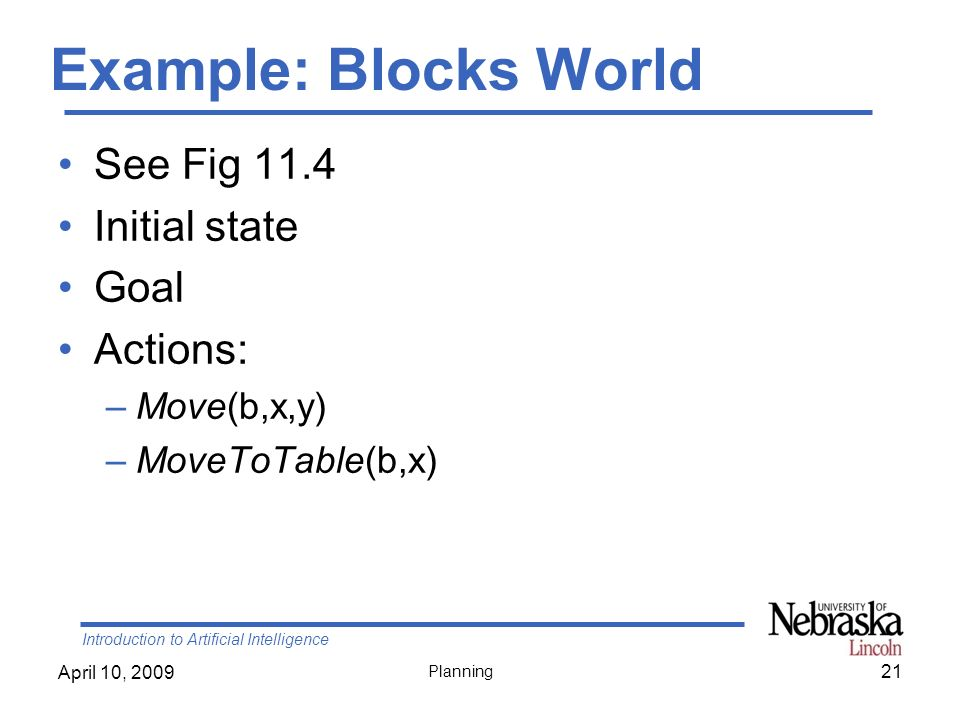 Introduction to Artificial Intelligence April 10, 2009 Planning Example: Blocks World See Fig 11.4 Initial state Goal Actions: –Move(b,x,y) –MoveToTab