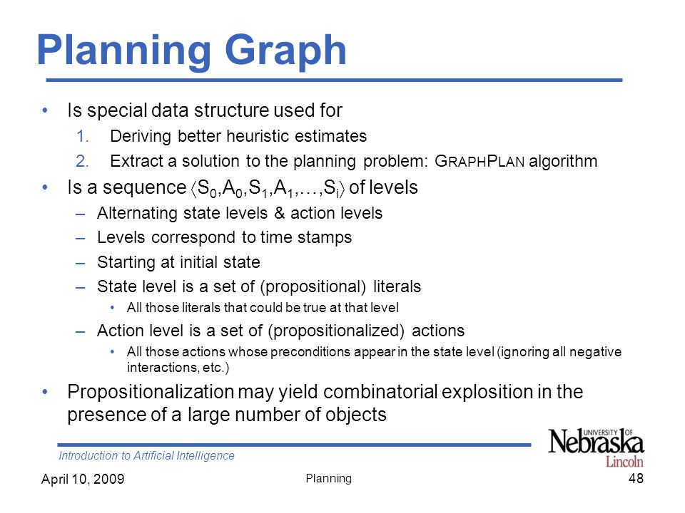 Introduction to Artificial Intelligence April 10, 2009 Planning Planning Graph Is special data structure used for 1.Deriving better heuristic estimate