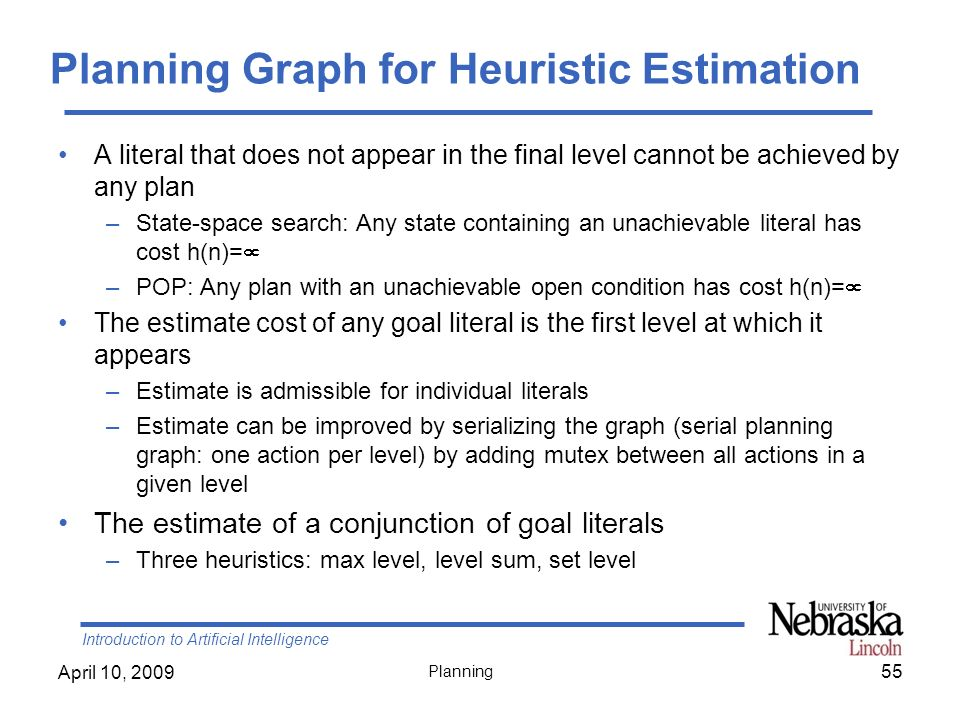 Introduction to Artificial Intelligence April 10, 2009 Planning Planning Graph for Heuristic Estimation A literal that does not appear in the final le