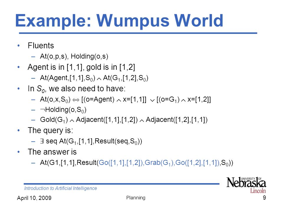 Introduction to Artificial Intelligence April 10, 2009 Planning Example: Wumpus World Fluents –At(o,p,s), Holding(o,s) Agent is in [1,1], gold is in [