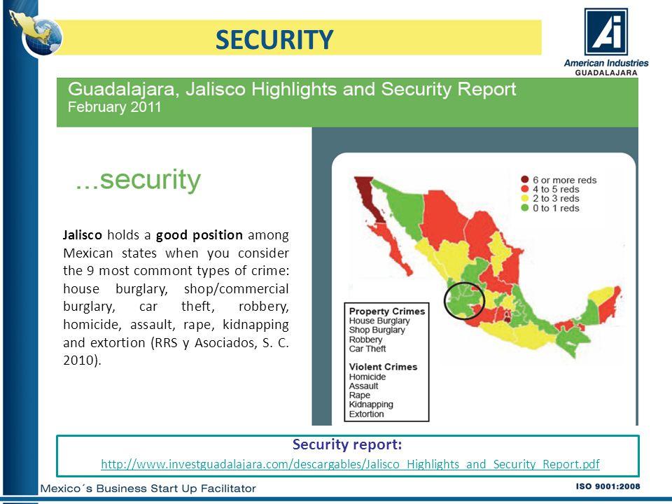 http://www.investguadalajara.com/descargables/Jalisco_Highlights_and_Security_Report.pdf SECURITY Security report: Jalisco holds a good position among