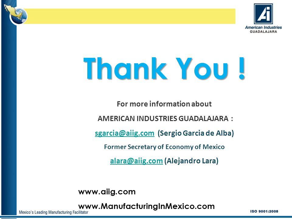 www.aiig.com www.ManufacturingInMexico.com Thank You ! For more information about AMERICAN INDUSTRIES GUADALAJARA : sgarcia@aiig.comsgarcia@aiig.com (