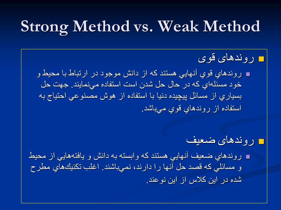 Strong Method vs. Weak Method روندهای قوی روندهای قوی روندهاي قوي آنهايي هستند كه از دانش موجود در ارتباط با محيط و خود مسئلهاي كه در حال حل شدن است ا