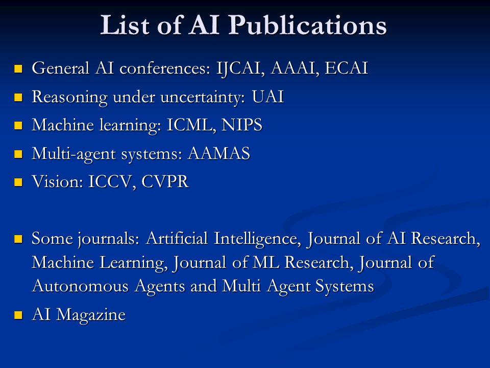 List of AI Publications General AI conferences: IJCAI, AAAI, ECAI General AI conferences: IJCAI, AAAI, ECAI Reasoning under uncertainty: UAI Reasoning