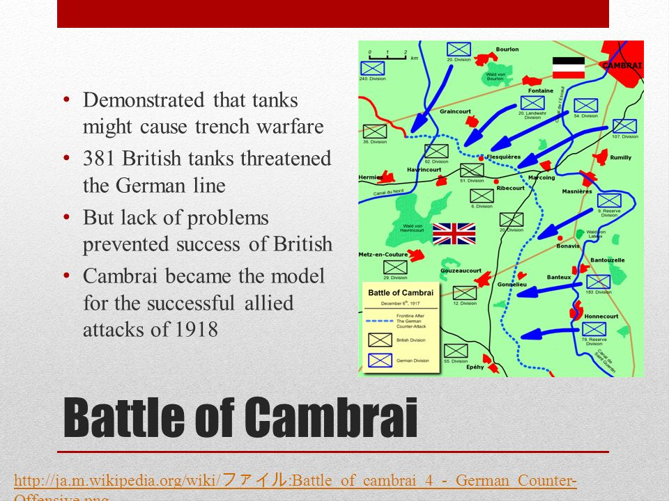 Battle of Cambrai Demonstrated that tanks might cause trench warfare 381 British tanks threatened the German line But lack of problems prevented success of British Cambrai became the model for the successful allied attacks of 1918 http://ja.m.wikipedia.org/wiki/ :Battle_of_cambrai_4_-_German_Counter- Offensive.png