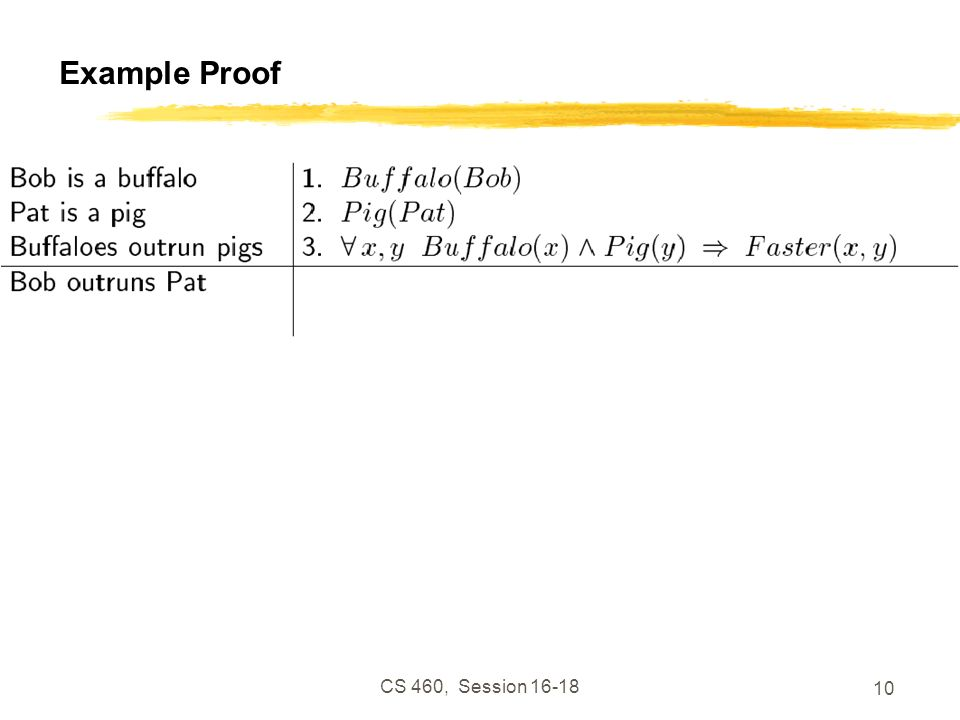 CS 460, Session 16-18 10 Example Proof