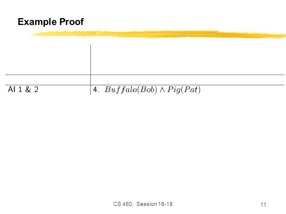 CS 460, Session 16-18 11 Example Proof