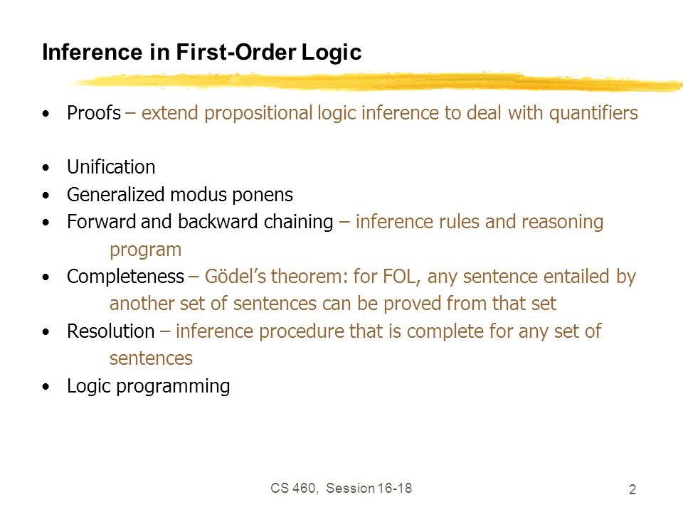 CS 460, Session 16-18 53 Backward Chaining Question: Has Reality Man done anything criminal.