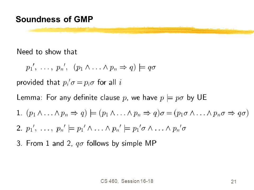CS 460, Session 16-18 21 Soundness of GMP