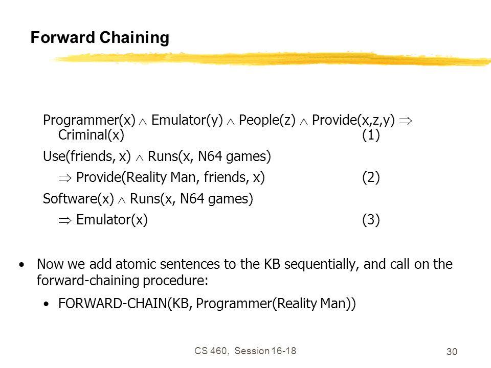 CS 460, Session 16-18 30 Forward Chaining Programmer(x) Emulator(y) People(z) Provide(x,z,y) Criminal(x)(1) Use(friends, x) Runs(x, N64 games) Provide