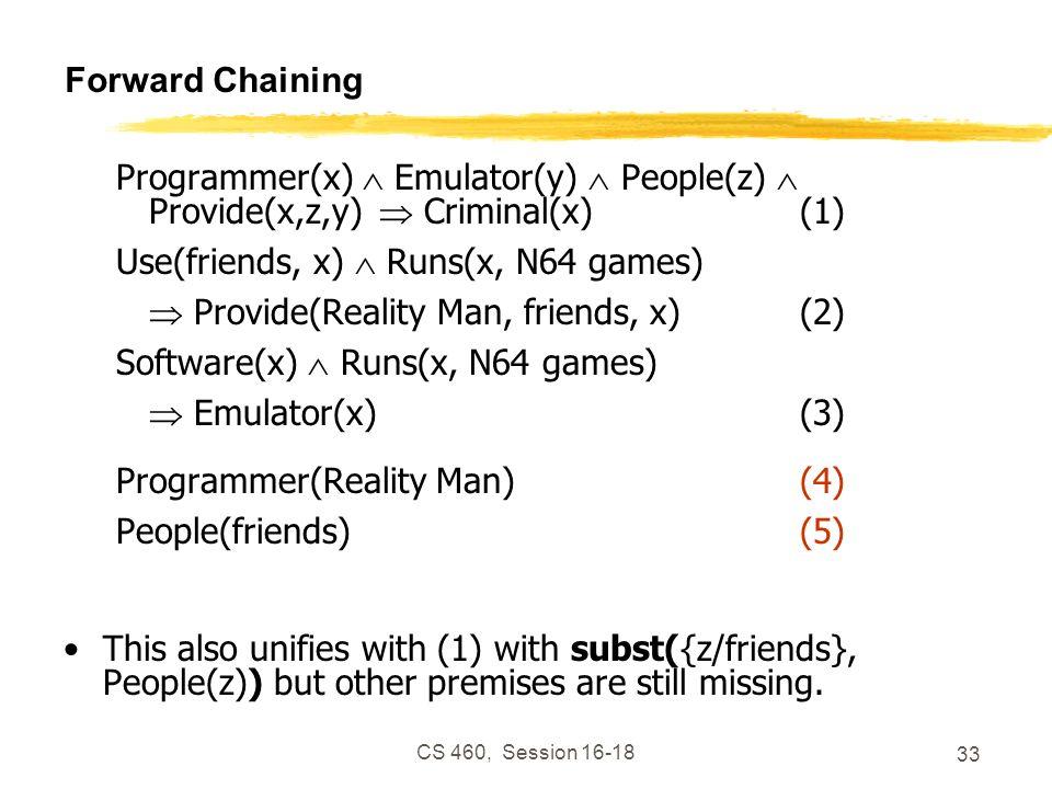 CS 460, Session 16-18 33 Forward Chaining Programmer(x) Emulator(y) People(z) Provide(x,z,y) Criminal(x)(1) Use(friends, x) Runs(x, N64 games) Provide