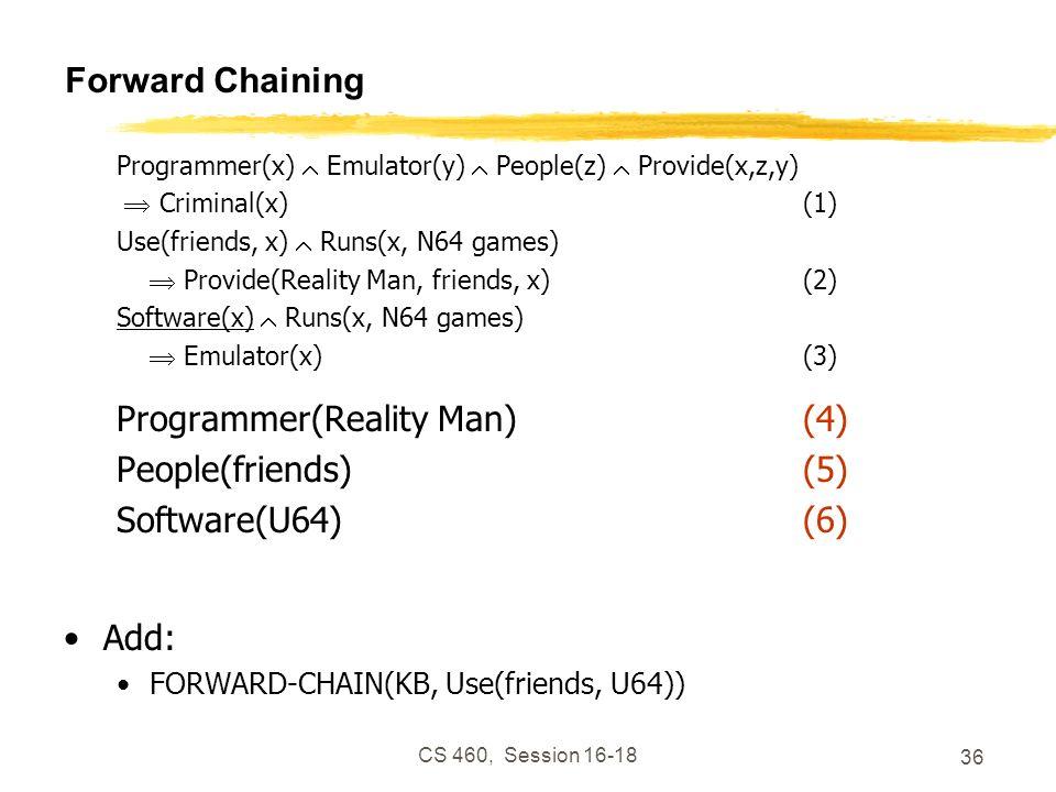 CS 460, Session 16-18 36 Forward Chaining Programmer(x) Emulator(y) People(z) Provide(x,z,y) Criminal(x)(1) Use(friends, x) Runs(x, N64 games) Provide
