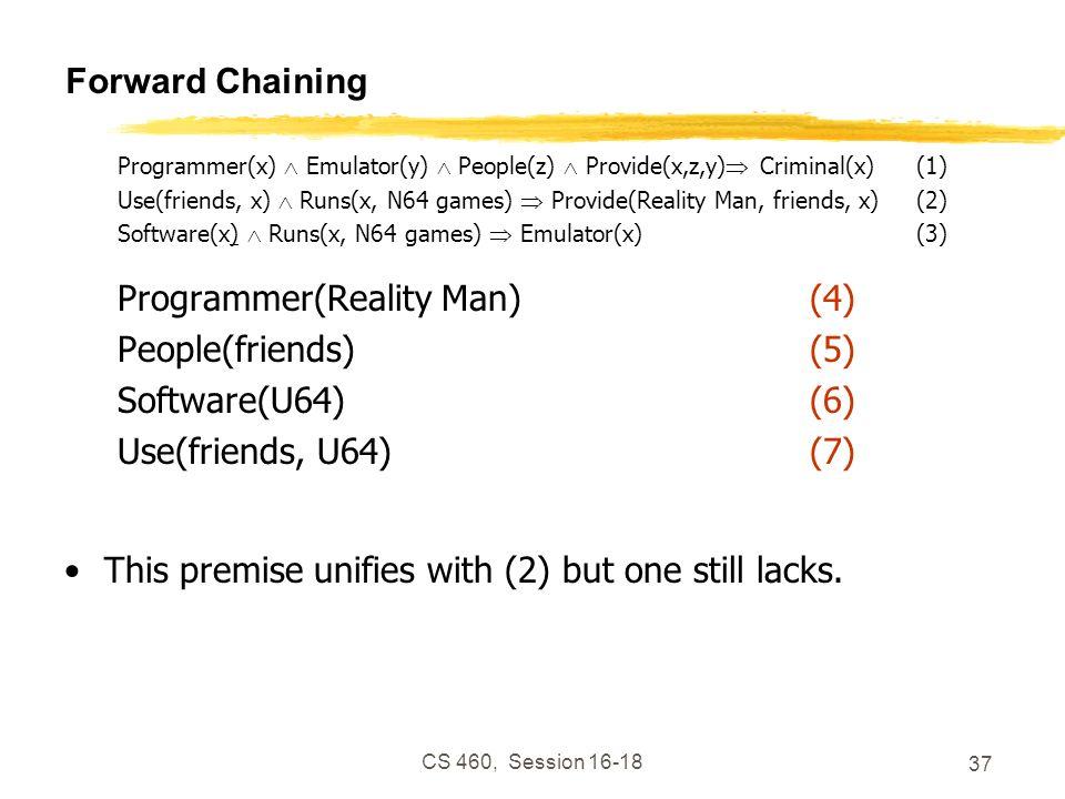 CS 460, Session 16-18 37 Forward Chaining Programmer(x) Emulator(y) People(z) Provide(x,z,y) Criminal(x)(1) Use(friends, x) Runs(x, N64 games) Provide