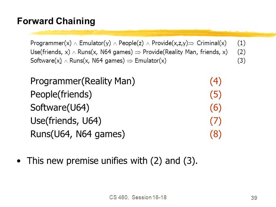 CS 460, Session 16-18 39 Forward Chaining Programmer(x) Emulator(y) People(z) Provide(x,z,y) Criminal(x)(1) Use(friends, x) Runs(x, N64 games) Provide