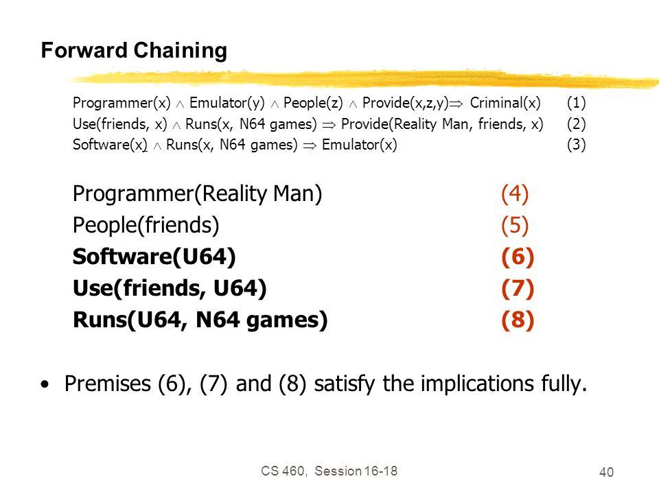 CS 460, Session 16-18 40 Forward Chaining Programmer(x) Emulator(y) People(z) Provide(x,z,y) Criminal(x)(1) Use(friends, x) Runs(x, N64 games) Provide