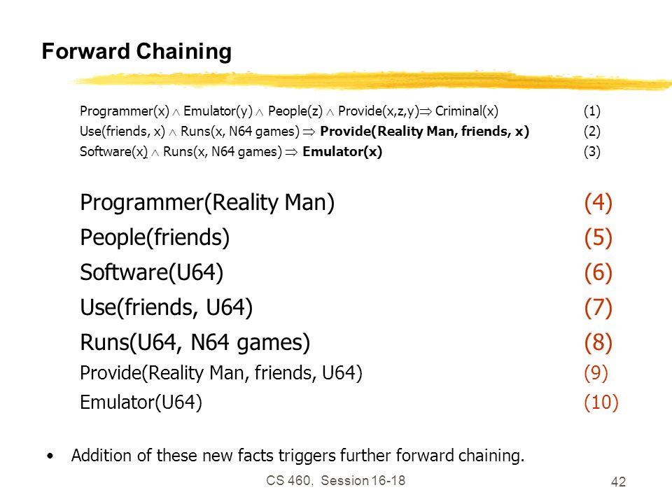 CS 460, Session 16-18 42 Forward Chaining Programmer(x) Emulator(y) People(z) Provide(x,z,y) Criminal(x)(1) Use(friends, x) Runs(x, N64 games) Provide