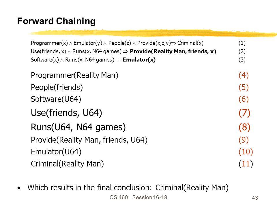 CS 460, Session 16-18 43 Forward Chaining Programmer(x) Emulator(y) People(z) Provide(x,z,y) Criminal(x)(1) Use(friends, x) Runs(x, N64 games) Provide