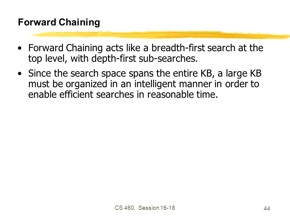 CS 460, Session 16-18 44 Forward Chaining Forward Chaining acts like a breadth-first search at the top level, with depth-first sub-searches. Since the