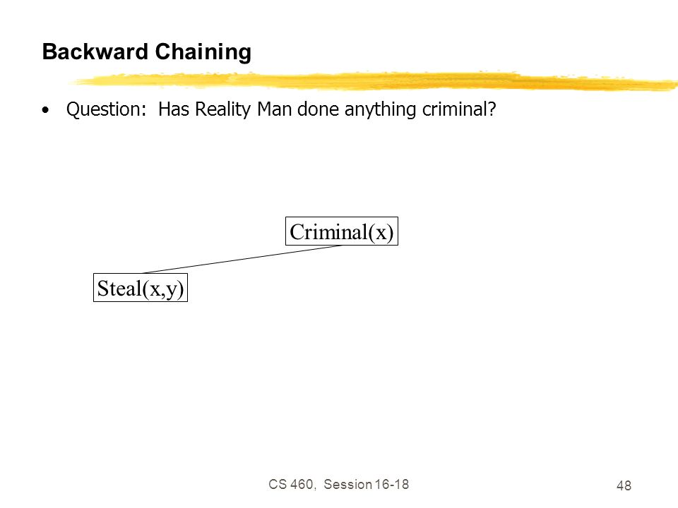 CS 460, Session 16-18 48 Backward Chaining Question: Has Reality Man done anything criminal? Criminal(x) Steal(x,y)