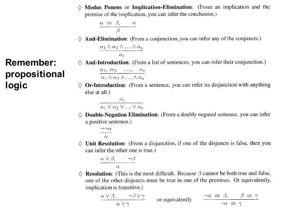 CS 460, Session 16-18 5 Remember: propositional logic