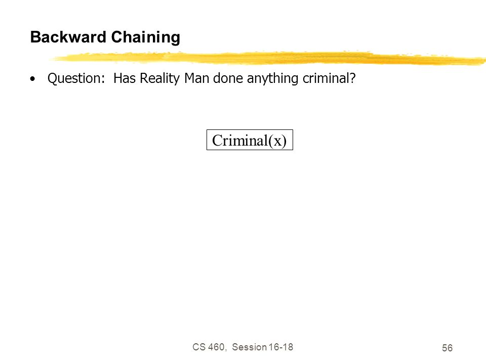 CS 460, Session 16-18 56 Backward Chaining Question: Has Reality Man done anything criminal? Criminal(x)