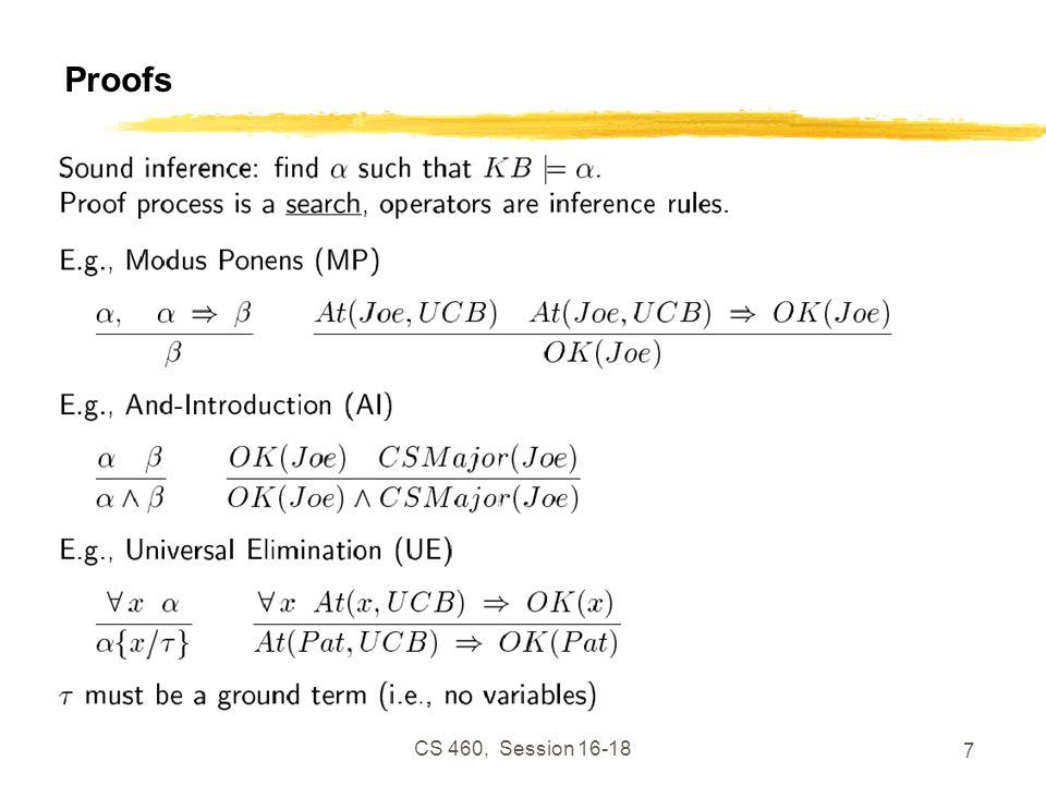 CS 460, Session 16-18 7 Proofs