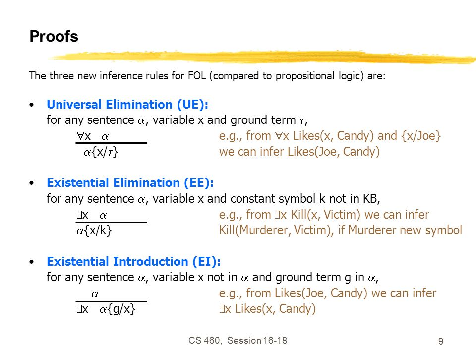 CS 460, Session 16-18 9 Proofs The three new inference rules for FOL (compared to propositional logic) are: Universal Elimination (UE): for any senten