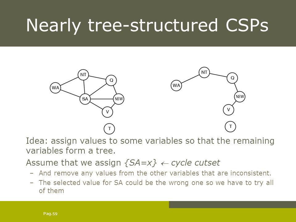Pag. 59 Nearly tree-structured CSPs Idea: assign values to some variables so that the remaining variables form a tree. Assume that we assign {SA=x} cy
