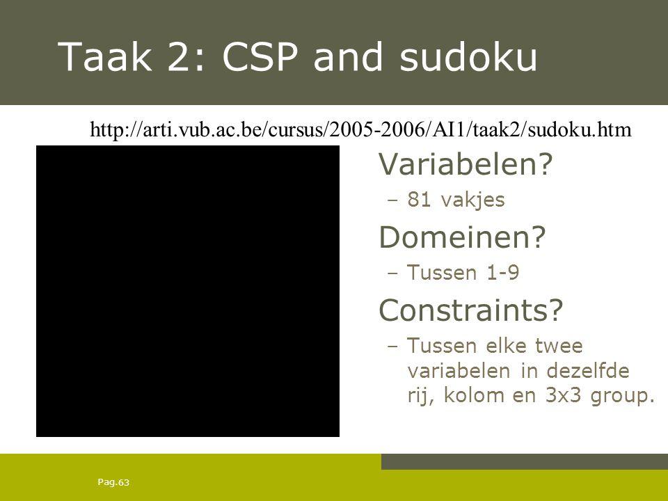 Pag. 63 Taak 2: CSP and sudoku Variabelen. –81 vakjes Domeinen.