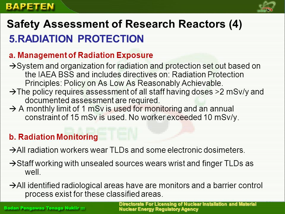 Directorate For Licensing of Nuclear Installation and Material Nuclear Energy Regulatory Agency Safety Assessment of Research Reactors (4) 5.RADIATION