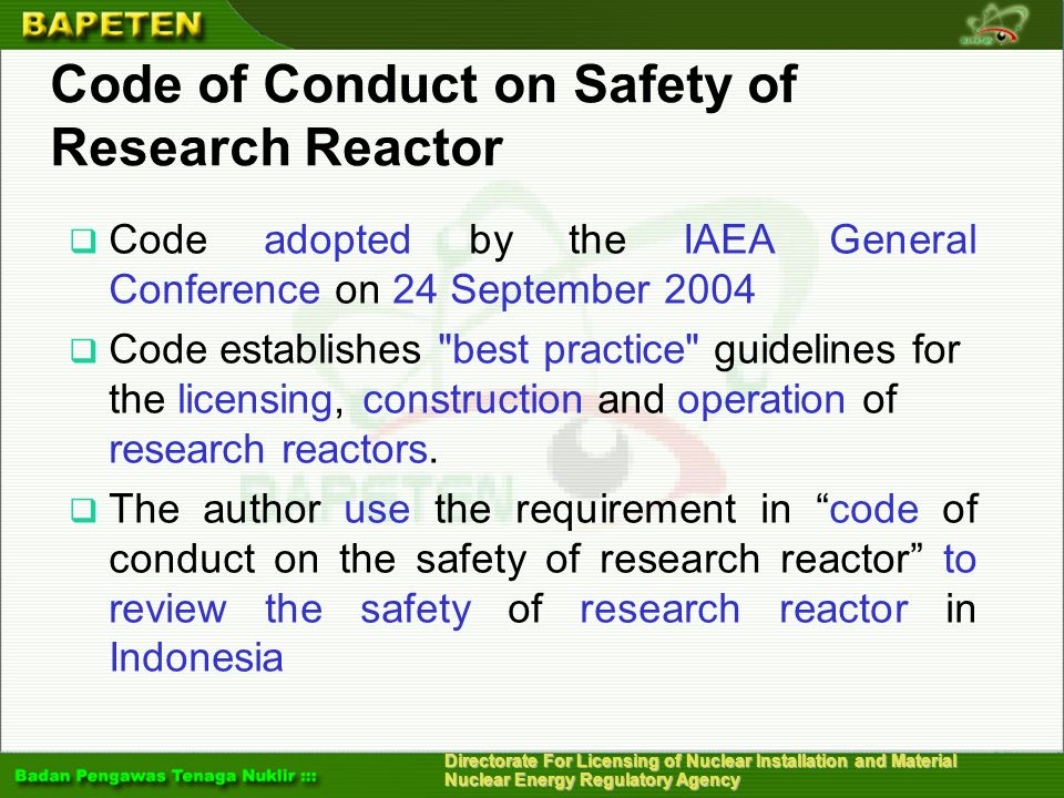 Directorate For Licensing of Nuclear Installation and Material Nuclear Energy Regulatory Agency Safety Assessment of Research Reactors (6) 6.MEASURES FOR IMPORTANT SAFETY ISSUES a.