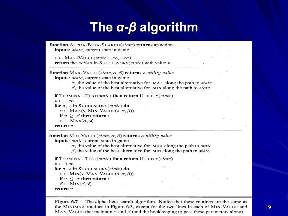 19 The α-β algorithm