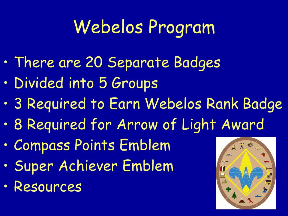 Webelos Program There are 20 Separate Badges Divided into 5 Groups 3 Required to Earn Webelos Rank Badge 8 Required for Arrow of Light Award Compass P