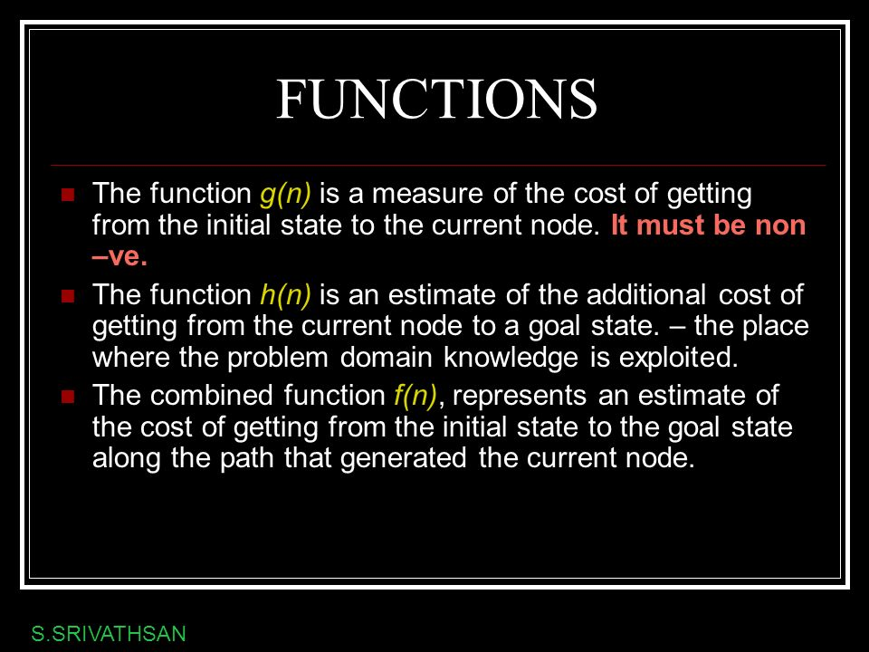 FUNCTIONS The function g(n) is a measure of the cost of getting from the initial state to the current node. It must be non –ve. The function h(n) is a