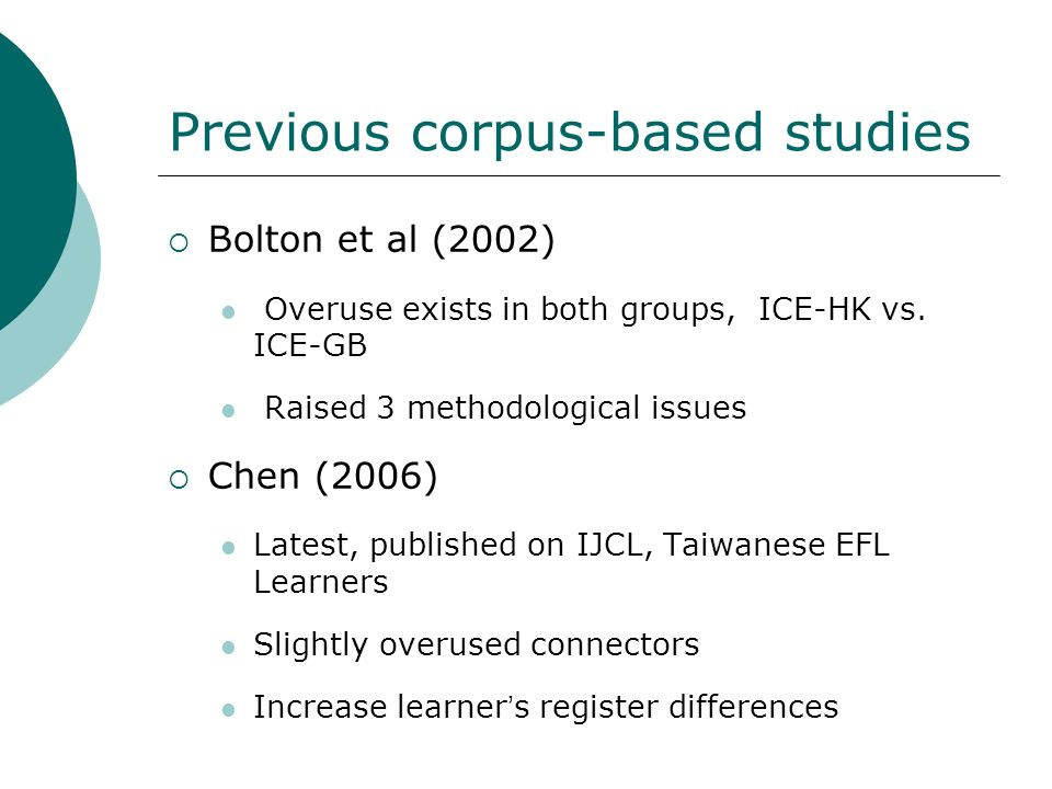 Previous corpus-based studies Bolton et al (2002) Overuse exists in both groups, ICE-HK vs. ICE-GB Raised 3 methodological issues Chen (2006) Latest,