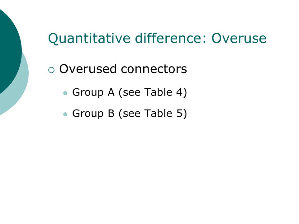 Quantitative difference: Overuse Overused connectors Group A (see Table 4) Group B (see Table 5)
