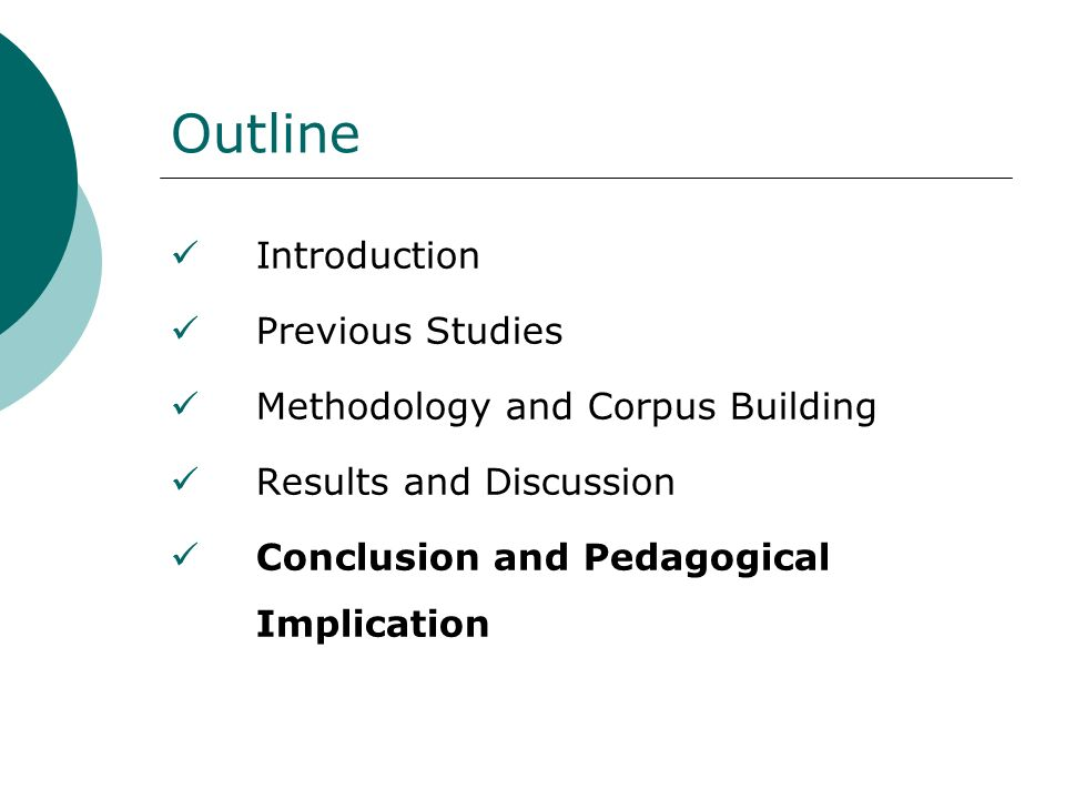 Outline Introduction Previous Studies Methodology and Corpus Building Results and Discussion Conclusion and Pedagogical Implication