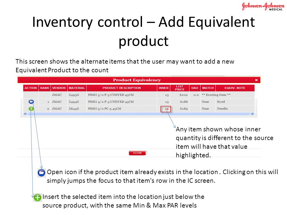 Inventory control – Add Equivalent product This screen shows the alternate items that the user may want to add a new Equivalent Product to the count Insert the selected item into the location just below the source product, with the same Min & Max PAR levels Open icon if the product item already exists in the location.