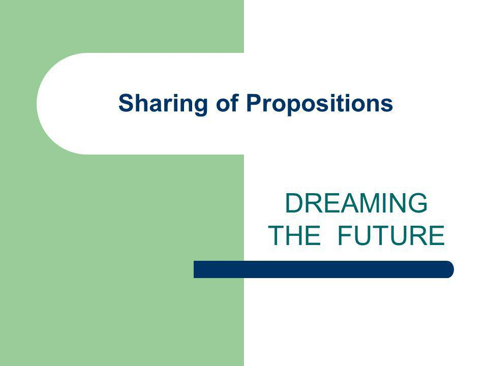 Sharing of Propositions DREAMING THE FUTURE