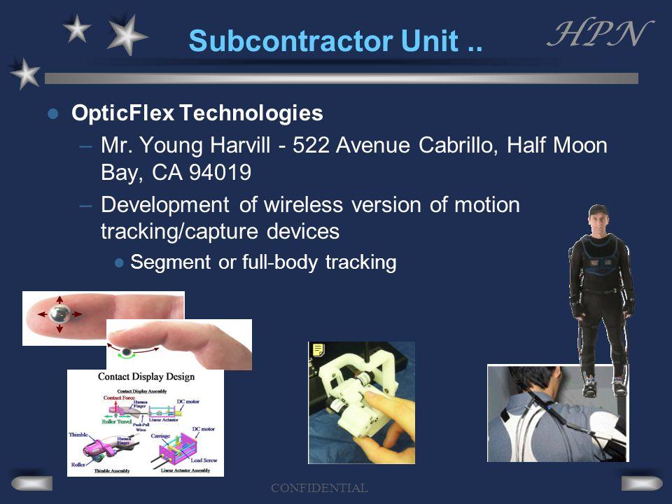 HPN CONFIDENTIAL Subcontractor Unit.. OpticFlex Technologies –Mr. Young Harvill - 522 Avenue Cabrillo, Half Moon Bay, CA 94019 –Development of wireles