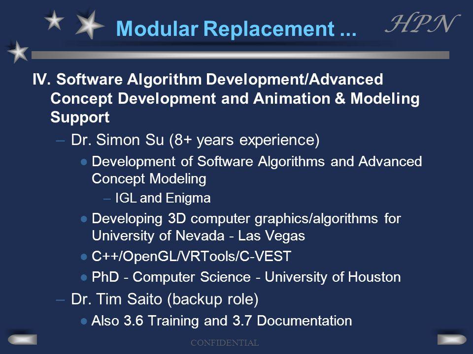 HPN CONFIDENTIAL Modular Replacement... IV. Software Algorithm Development/Advanced Concept Development and Animation & Modeling Support –Dr. Simon Su