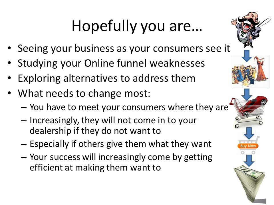Hopefully you are… Seeing your business as your consumers see it Studying your Online funnel weaknesses Exploring alternatives to address them What needs to change most: – You have to meet your consumers where they are – Increasingly, they will not come in to your dealership if they do not want to – Especially if others give them what they want – Your success will increasingly come by getting efficient at making them want to