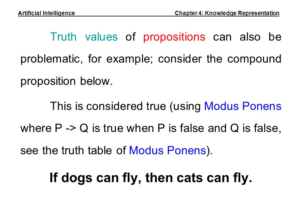 Truth values of propositions can also be problematic, for example; consider the compound proposition below. This is considered true (using Modus Ponen