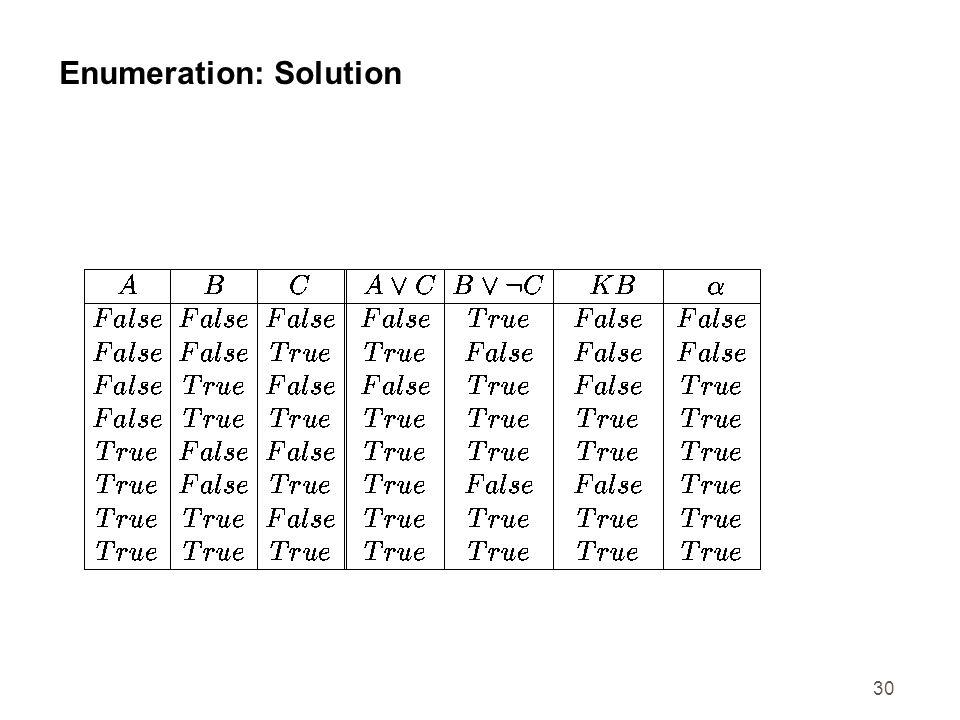 30 Enumeration: Solution