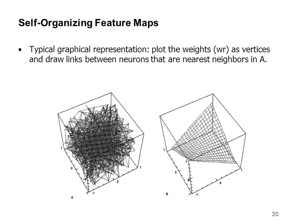 30 Self-Organizing Feature Maps Typical graphical representation: plot the weights (wr) as vertices and draw links between neurons that are nearest ne